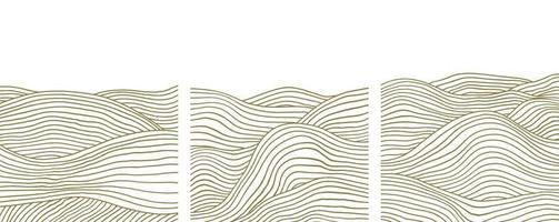 Conjunto contemporáneo de moda de plantilla de paisaje de arte de composición pintada a mano artística minimalista geométrica creativa abstracta. carteles vectoriales para decoración de paredes en estilo vintage vector