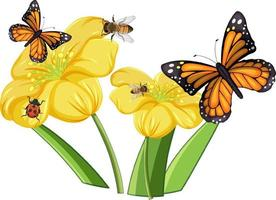 Close up of butterfly with flowers isolated vector