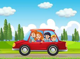 Happy family travelling in nature scene by red car vector