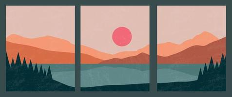 Abstract contemporary landscape posters. Modern boho background set with lake, river,sun, moon, mountains, minimalist wall decor. Vector art print