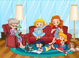familia feliz en la escena de la sala de estar vector