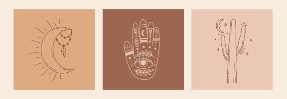 boho mystic doodle conjunto esotérico. cartel de arte de línea mágica con manos, cactus, luna y estrellas. Ilustración de vector moderno bohemio