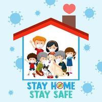 quédate en casa quédate a salvo fuente con familia feliz vector