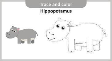 trazar y colorear hipopótamo vector