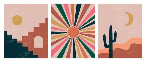 ilustraciones estéticas abstractas minimalistas modernas. decoración de pared de estilo bohemio. colección de carteles artísticos contemporáneos. vector