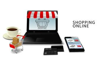 Online shopping concept, Smartphone and laptop with credit cards, Products on Cart with isolated white background vector