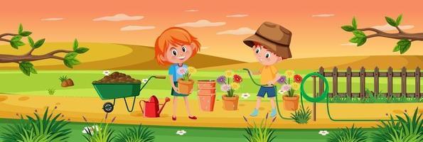 Kids gardening in nature scene vector