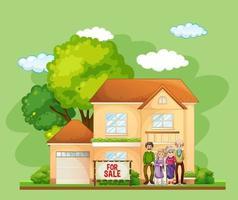 Familia de pie delante de una casa en venta sobre fondo verde vector