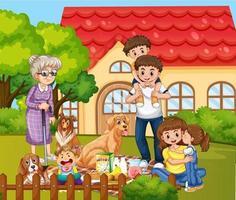 familia feliz de pie fuera de casa con sus mascotas vector