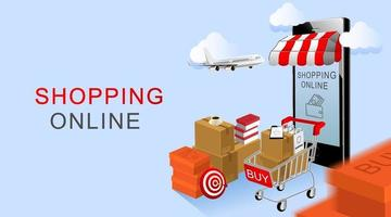 Online shopping, Smartphone and Cart with products with blue background vector
