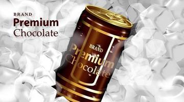 Lata de bebida de chocolate con chocolate y color marrón oscuro vector