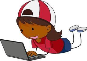 un niño del doodle que usa el personaje de dibujos animados portátil aislado vector