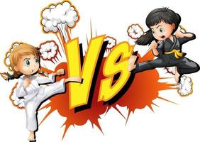 Two girls fighting on a white background vector