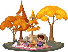Children doing picnic in the park with many autumn trees vector