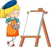 pequeño personaje de dibujos animados de artista con tablero en blanco aislado vector