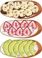 Vista superior del pan con cobertura de frutas. vector
