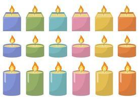 Candle vector design illustration set isolated on white background