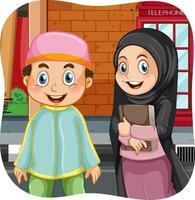 personaje de dibujos animados de hermana y hermano musulmán vector
