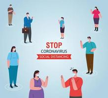 social distancing banner with people wearing face masks vector