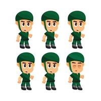 Soldier Idle game character set vector