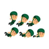Soldier game character dying set vector