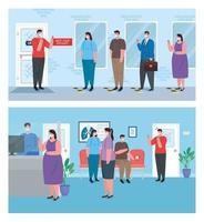 people social distancing scene set vector