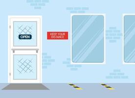 back door with social distance sign vector