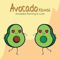 Avocado Kawaii, avocado Running to love vector