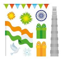 india independence day, 15th august, icons set traditional vector