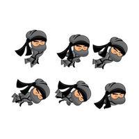 ninja dying sprite conjunto de plantillas conjunto de juego de ilustración vector