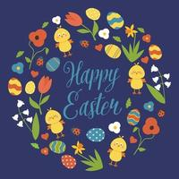 Happy Easter wreath with flowers, eggs, chicks on blue background. Vector illustration.