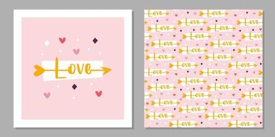 St Valentine's holiday. Love greeting card design. Cupid arrow with love lettering. Relationship, emotion, passion. Seamless pattern, texture, paper, packaging. vector