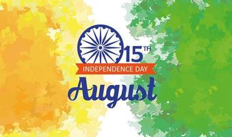indian happy independence day, celebration 15 august, with ashoka wheel decoration vector
