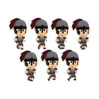 conjunto de personajes de dibujos animados espartanos vector