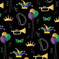 Mardi Gras vector pattern on black background