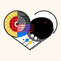 Heart valentine abstract geometric design vector