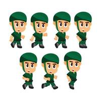 Soldier Running game character set vector