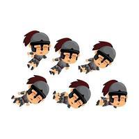 conjunto de caída de dibujos animados espartano vector