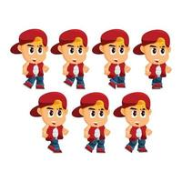Boy Character with Hat Set vector