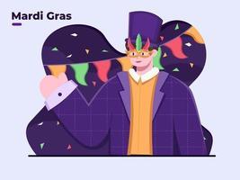 Flat illustration Celebrating Mardi Gras Day Festival vector