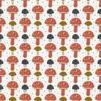 Fly agaric. Poison mushroom. Seamless pattern, texture, background. Packaging design. Ink vector.
