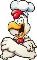 Chef chicken with crossed arms vector