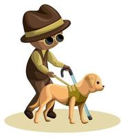 Vector image of a blind old man with a dog and a cane. Cartoon style.