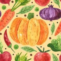verduras, guisantes, frijoles, rábanos, cebolla, hoja, tomate, zanahoria, calabaza. diseño de acuarela. dibujado a mano. mercado de alimentos vegetales. patrón transparente, textura, fondo. papel de embalaje. tienda de comestibles. vector
