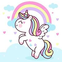 Cute Unicorn Pegasus vector flying on pastel sky with sweet rainbow and cloud. Pony cartoon kawaii animals background for Valentines day gift