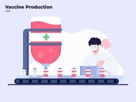 Covid-19 vaccine mass production vector flat illustration