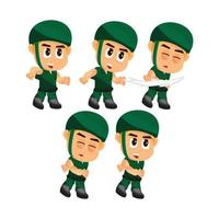 Soldier character fighting set vector