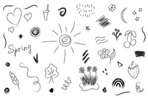 Abstract spring vector elements in hand drawn style