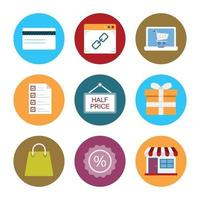 iconos de compras y comercio electrónico