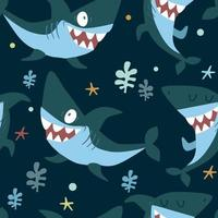 Cute pattern with sharks on blue background with sea plants in a cartoon style. Illustration for kids in vector. vector